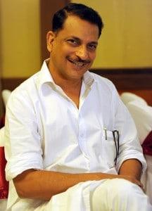 BJP spokesman Rajiv Pratap Rudy at press confrence in Bangalore on Saturday.Express photo by Nagaraja Gadekal