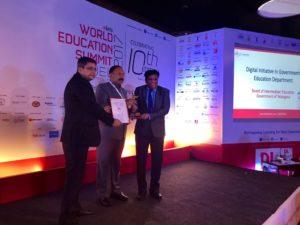 V S Radhakrishnan, State Minister of Education, Sri Lanka (Middle) felicitating Dr A Ashok, Secretary & Commissioner, Board of Intermediate Education & Vice Chancellor, Rajiv Gandhi University of Knowledge Technologies, Basar, Government of Telangana (Right)