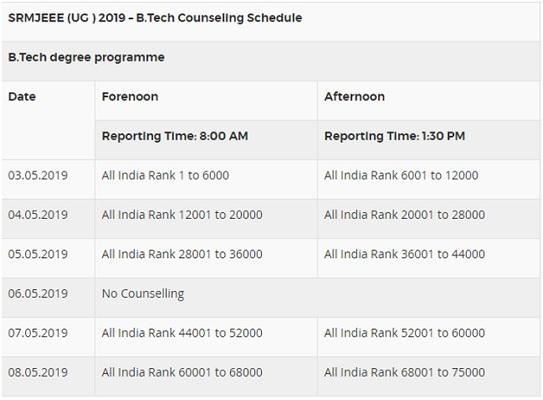 SRMJEEE 2019 counseling schedule