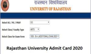 Rajasthan University Admit Card